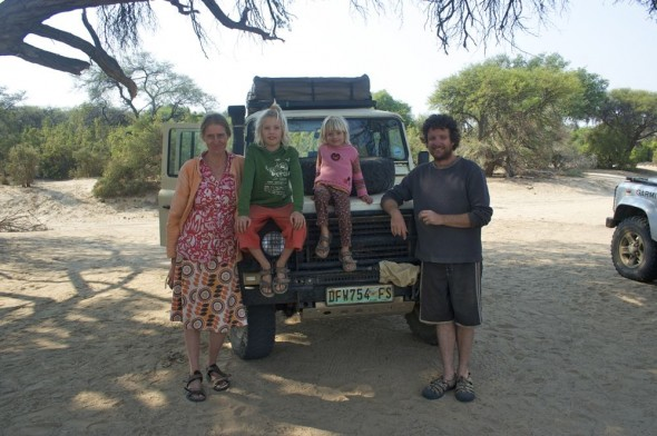 The Green family at Purros camp site, Namibia.