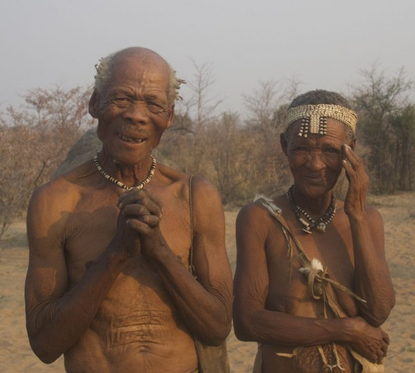 The chief and his wife. Ju/'hanse San people, or as they are more commonly known, the Bushmen, near Tsumkwe, eastern Namibia.