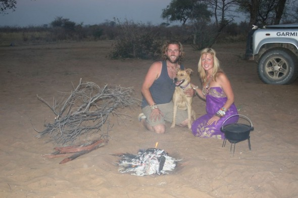 Lucie, Lachlan & Bow Wow from The Vagabond Adventures. Ju/'hanse San people, or as they are more commonly known, the Bushmen, near Tsumkwe, eastern Namibia.