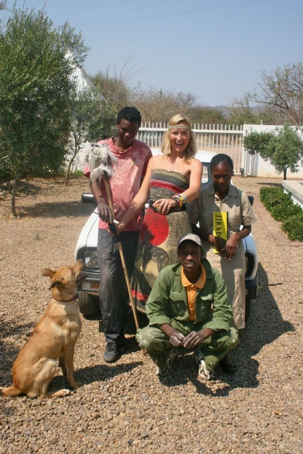 Lucie & Bow Wow posing for a photo on the back of the Little White Van at The No. 1 Ladies' Opera House, Gaborone, Botswana.