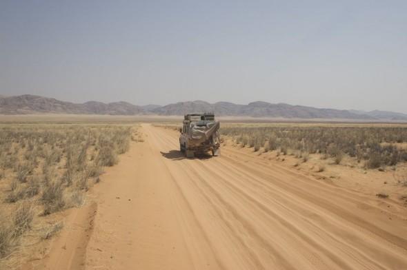 Lula the landy driving into Kaokoland, Namibia.