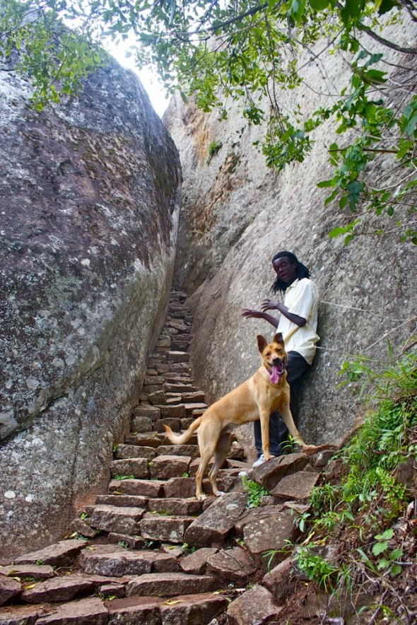 Bow Wow at Blood Shed Passage with guide, Great Zimbabwe Ruins.