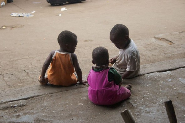 Children playing at Harare Market, Zimbabwe.