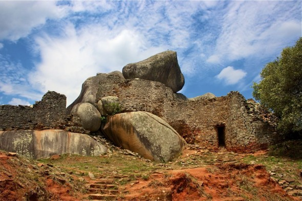 Stone built structures at Great Zimbabwe Ruins.