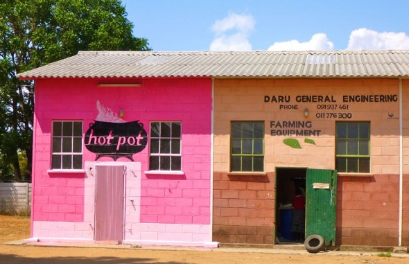 A pink shop in Rusape called Hot Pot, Zimbabwe.