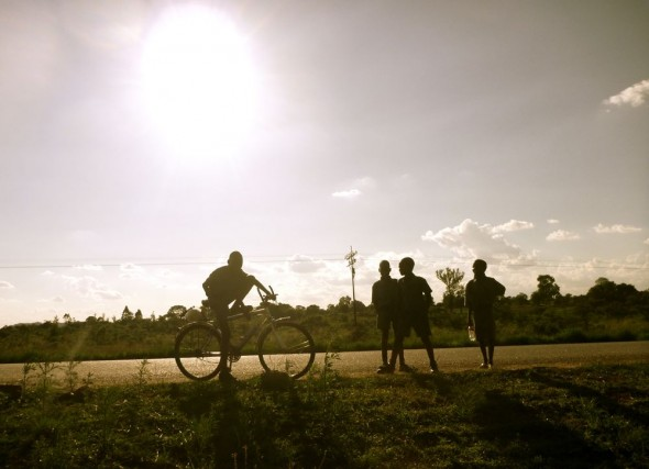 Kids with a bike on Rusape road, Zimbabwe.