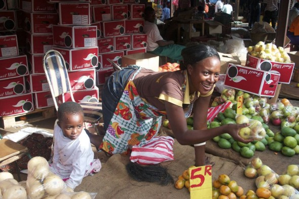Lady selling fruit at Harare market