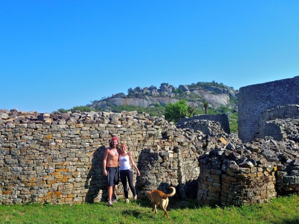 Lucie Lachlan & Bow Wow take a break from running at Great Zimbabwe Ruins - Queens' residence.