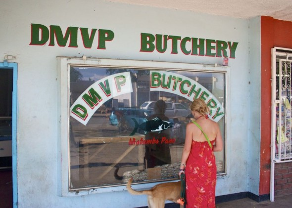 Lucie and Bow Wow out front of DMVP Butchery Rusape, Zimbabwe.
