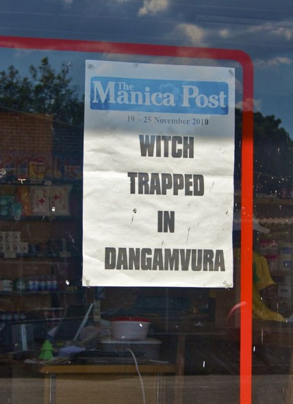 Manica Post Headline 'Witch Trapped in Dangamvura', Rusape, Zimbabwe.