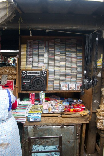 Music stall at Harare market, Zimbabwe.