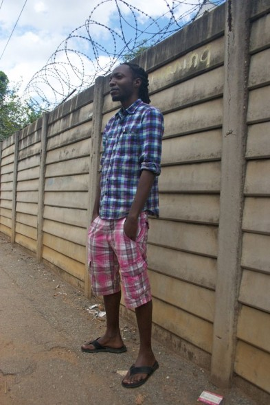 Zimbabwean showing cool clashing clothing in Harare, Zimbabwe.