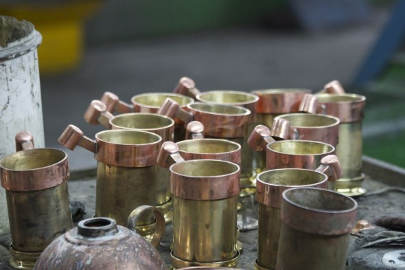Copper mugs made by Copperwares, Harare, Zimbabwe.