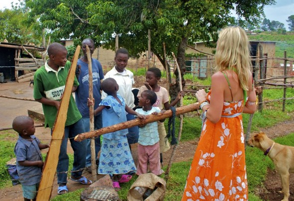 Lucie talking to group of children in Nyanga, Zimbabwe.