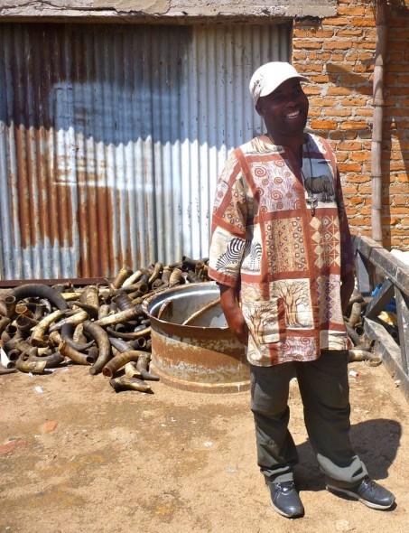 Joseph in his outdoor workshop in Zimbabwe.