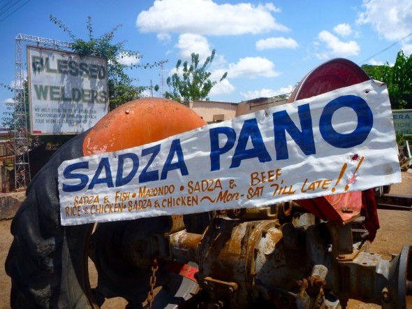 Sign for Blesses Welders and Sadza Pano, Zimbabwe.