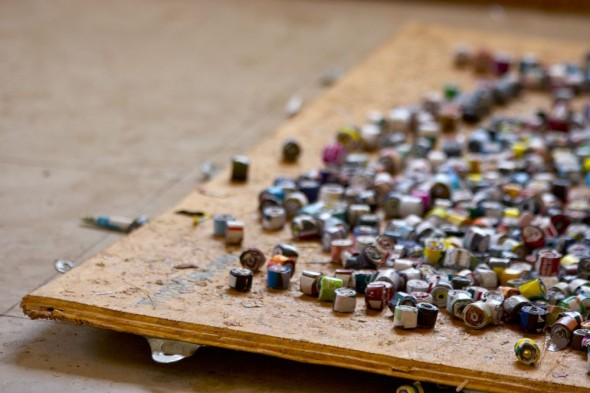 Paper rolled and varnished to make jewellery, Harare, Zimbabwe