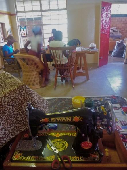 Sewing machine and women making jewellery, Harare, Zimbabwe