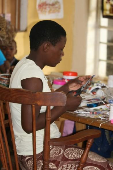 Woman making jewellery, Harare, Zimbabwe