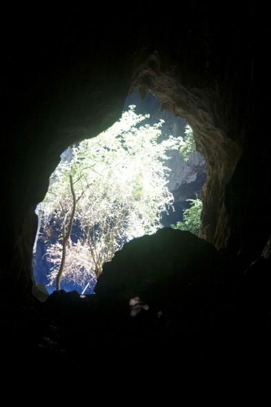 Approaching the clear blue sunlit Sleeping Pool, Chinhoyi Caves, Zimbabwe.
