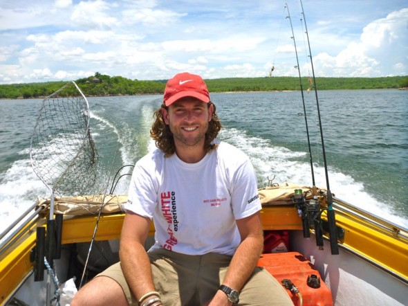 Lachlan man in boat on Lake Kariba, Zimbabwe