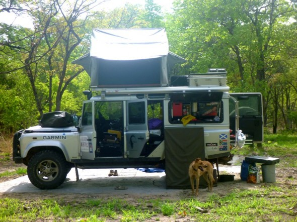 Lula Land Rover and camp setup at Matusadona National Park, Zimbabwe