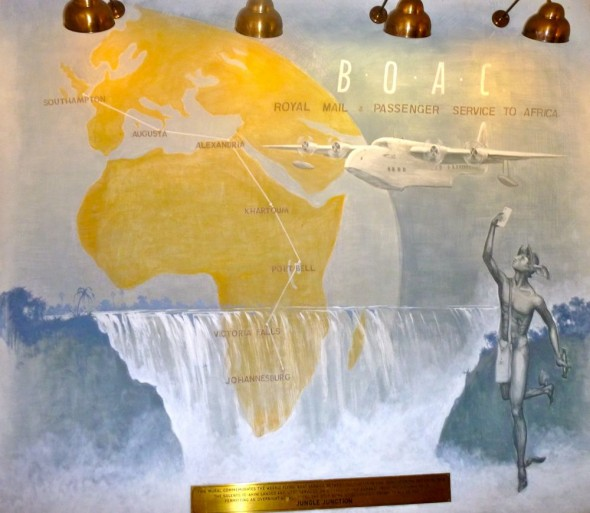 BOAC mural inside The Victoria Falls Hotel, Zimbabwe