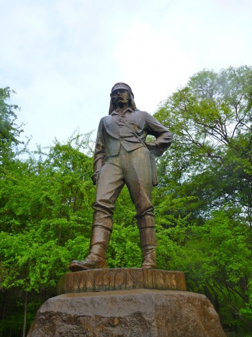 David Livingstone statue by the Victoria Falls, Zimbabwe