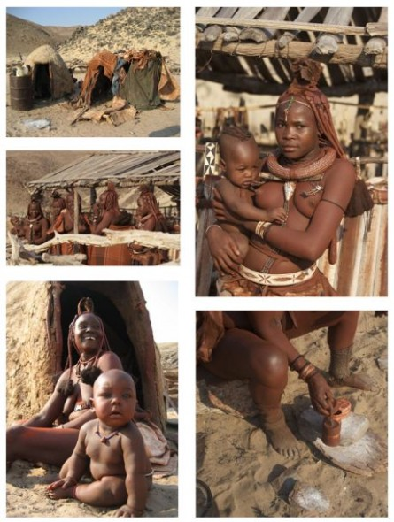 A collage of pictures from our visit to the Himba tribe of Kaokaland, Namibia.