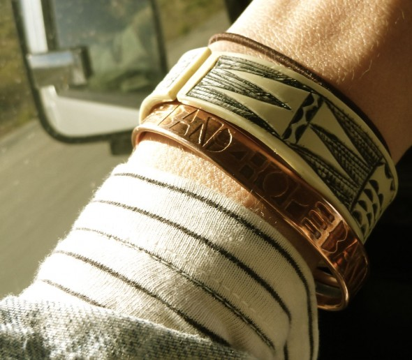 A Band4Hope band inspired by Himba Tribe geometric designs shown