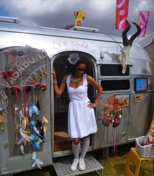 Vagabond Van girl wearing Apolonia dress outside the Vagabond Va