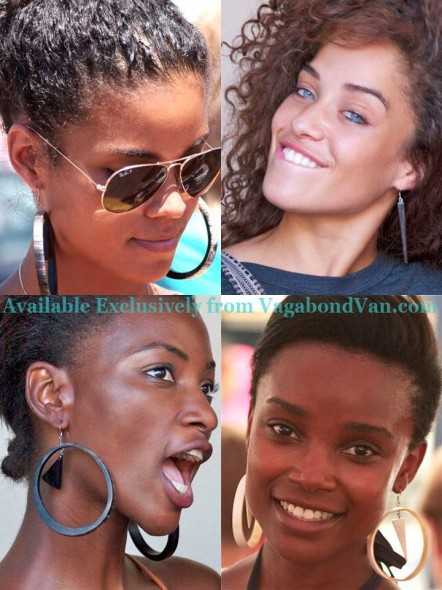 Vagabond Van girls wearing tribal hoop earrings made from cow horn by Joseph in Zimbabwe