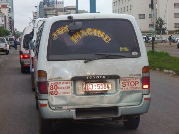 A taxi in Harare, Zimbabwe