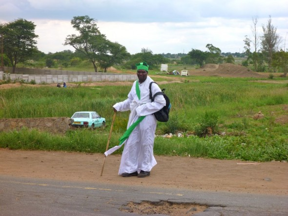 Apostolic man wearing white robe in Harare, Zimbabwe