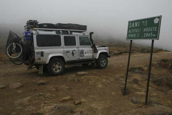 Land Rover Defender 110 at top of Sani Pass
