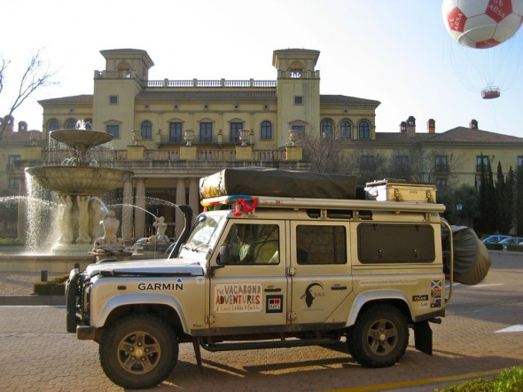 Land Rover Defender 110 out front of Johannesburg Monte Casino