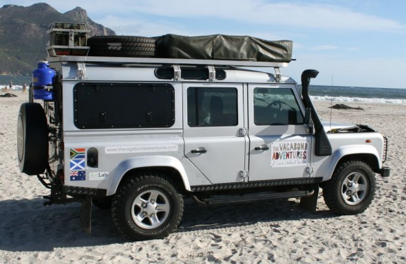 Land Rover Defender 110 with Overland Kit on Hout Bay Beach