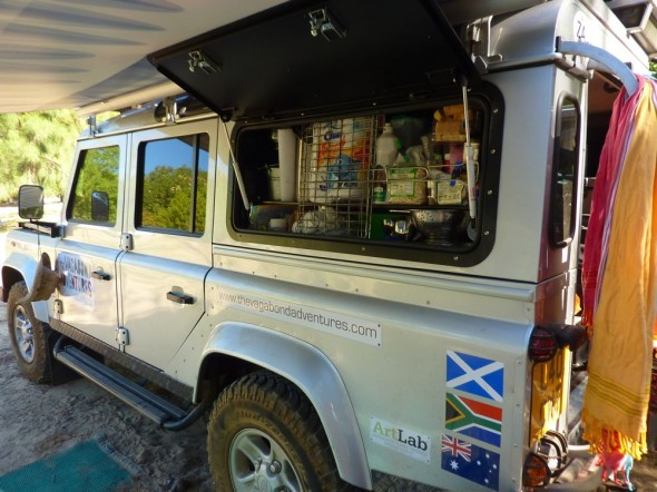 Land Rover Defender 110 with Overland Kit showing food cupboard