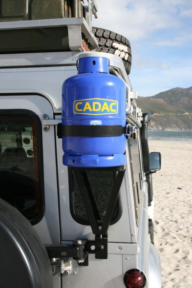 Land Rover Defender 110 with Overland Kit showing mounted 10kg gas bottle