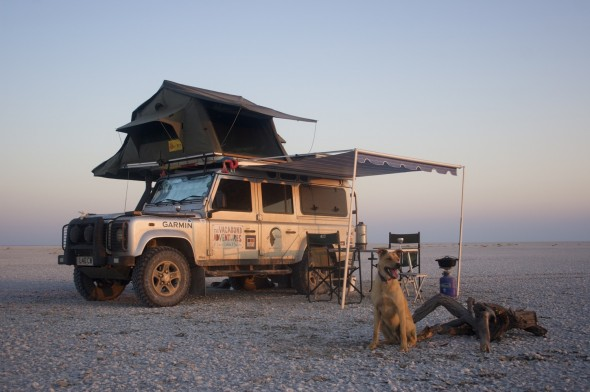 Bow Wow watching over our camp with Lula the Landy on the Makgadikgadi Salt Pans Botswana, no land in sight