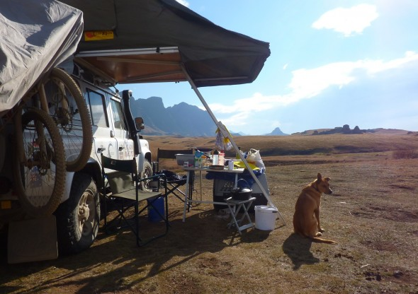 Bow Wow with Lula the Landy in cold Lesotho