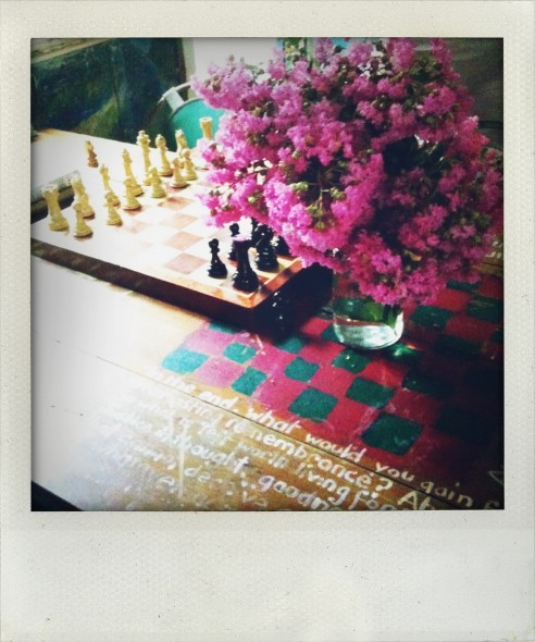 Chess and flowers and painting in Nimbin Museum in New South Wales in Australia. Taken by Miriam McWilliam.