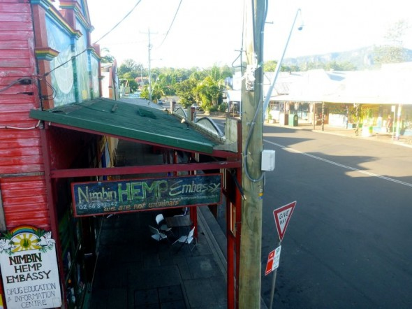 Looking over balcony to Nimbin Hemp Embassy Drug Education Centre in New South Wales in Australia.