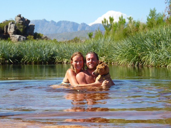 Lucie, Lachlan & Bow Wow at Beaverlac, South Africa Bow Wow's first swim