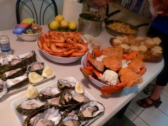 New Years eve feast in Broadbeach on the Gold Coast in Australia, fresh seafood oysters, prawns, crab and Moreton Bay bugs, a species of lobster.