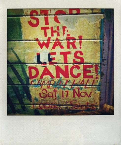 Nimbin Museum in New South Wales in Australia stop the war lets dance art work. Taken by Miriam McWilliam.