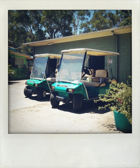 Retro golf buggies at the caravan park in Byron Bay in New South Wales in Australia in the sunshine. Taken by Miriam McWilliam.