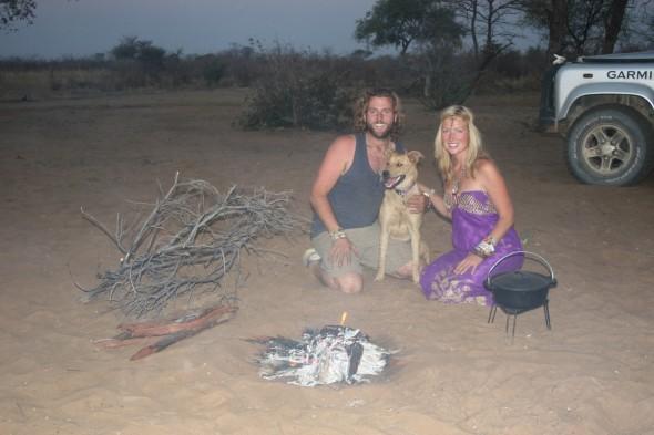 The Vagabond Adventures at their camp near the bushmen village of Tsumkwe, Namibia.