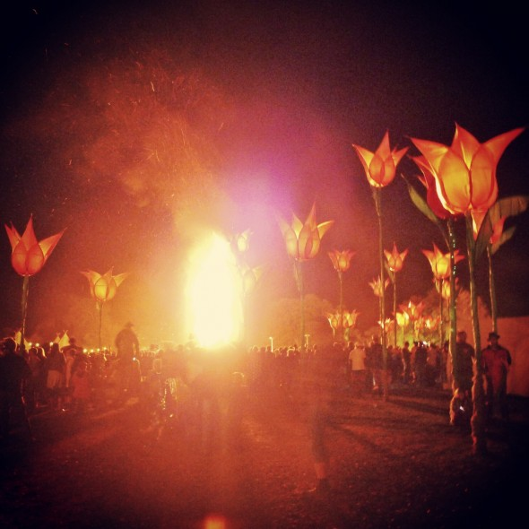 Bonfire at Shambala Festival 2012 by giant tulip sculptures at night