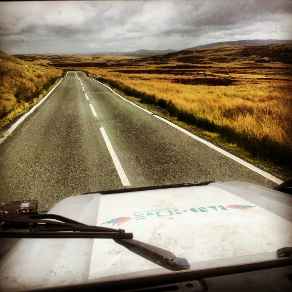 Driving to London through North Wales countryside in Band4Hope defender